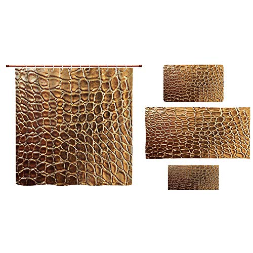iPrint Bathroom 4 Piece Set Shower Curtain Floor mat Bath Towel 3D Print,Crocodile Skin Nature Life Toughness High End,Fashion Personality Customization adds Color to Your Bathroom. by iPrint