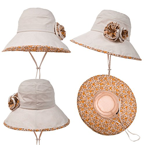 bf8ee333913 SIGGI Bucket Boonie Cord Fishing Beach Cap Summer Sun Hat Wide Brim for  Women UPF50+ Beige