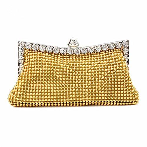 Pochette Mariage Femme Diamanté Splendide Sac Pour Cérémonie à Main Or Soirée 15ROpqR