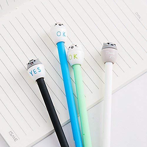 Ogquaton 1unid bol/ígrafos de novedad lindos bol/ígrafos de tinta de gel de expresi/ón suministros de papeler/ía escolar de oficina para estudiantes negro s/í duradero y /útil