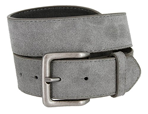 (Square Buckle Casual Jean Suede Leather Belt for Women (Gray, 36))