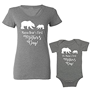 We Match! – Mama Bear's First Mother's Day – Matching Women's Triblend T-Shirt & Baby Bodysuit Set