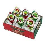 Shiny Brite Holiday Splendor Lanterns withTinsel - Set of Six