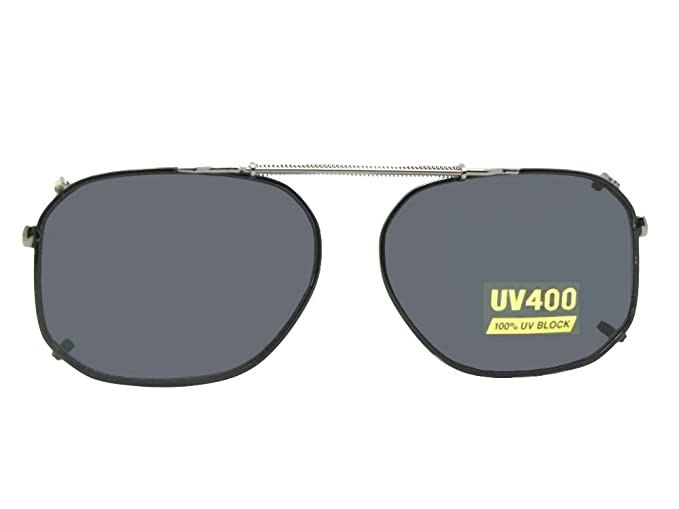 2055973784 Modified Aviator Non Polarized Clip On Sunglasses (Black-NON Polarized Gray  Lens