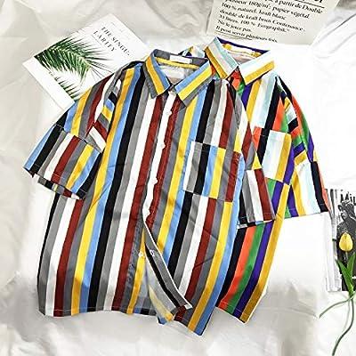 DXHNIIS Camisas de Rayas Coloridas Hombres Camisa Descubierta Camisas Retro Camisa de Hombre Hombre XL Rojo: Amazon.es: Deportes y aire libre