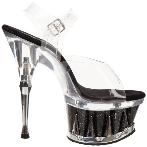 Pleaser Plateau High Heels SPIKY-608MG - Klar/Schwarz 42,5 EU