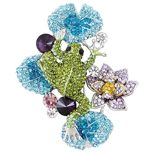 EVER FAITH Austrian Crystal Lovely Frog Lotus Flower Brooch Green (Austrian Crystal Frog Pin)