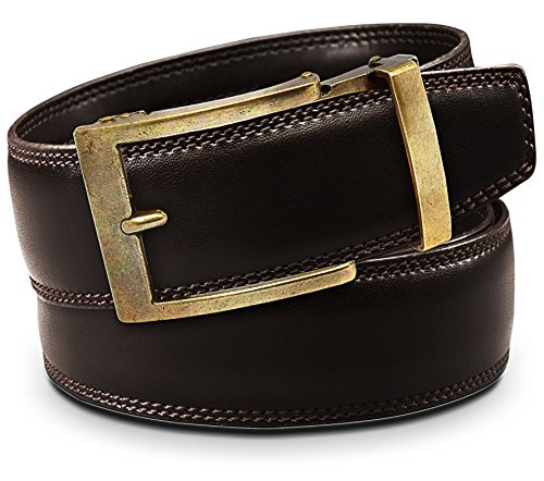 Dress Leather Belt Brass Buckle - Classic Men's Leather Ratchet Click Belt - Antique Brass Buckle with Double Stitched Brown Leather Belt (Trim to Fit: Up to 45'' Waist)
