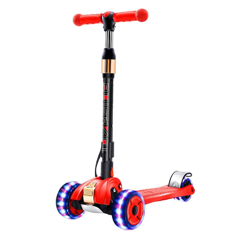 キックボード本体 つけられたPUの車輪が付いている折り畳み式の蹴りのスクーター、調節可能な子供のスクーター、100のkgの負荷、後部ブレーキが付いている広いペダルのスクーター板 (色 : 青) B07MVT699C Red Red