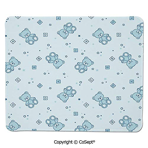 - Quality Selection Comfortable Mouse Pad,Teddy Bears and Toys with Letters on Children Imagery Baby Blue Background,for Laptop,Computer & PC (11.81