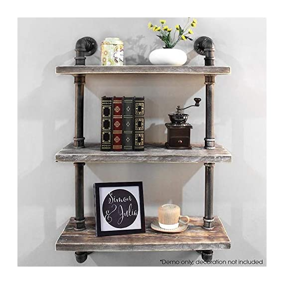 "Diwhy Industrial Pipe Shelving Bookshelf Rustic Modern Wood Ladder Storage Shelf 3 Tiers Retro Wall Mount Pipe Dia 32mm Design DIY Shelving (Silver, L 24"") - 【Retro Style】:Rustic industrial pipe shelf in black finish.Iron pipes and reclaimed real wood composition in vintage style.Storage and decorations.It can also be used outdoors.Extensively anti-rust treatment. - Electroplated finish. 【Size】:Made from quality metal pipe and pine wood. Overall size: length 24in x depth 10in x height 39in.Board size: length 24in x depth 10in x thickness 1.18in.Water pipe diameter: 1.26in, Overall Product Weight:20 lb . 【Multi-functional】:The floating shelves are versatile, such as bathroom accessories, towel holder, bookcase, spice racks. - wall-shelves, living-room-furniture, living-room - 51r3f0KDYAL. SS570  -"