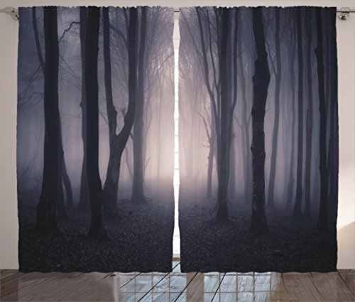 Farm House Decor Curtains by Ambesonne, Path Through Dark Deep in Forest with Fog Creepy Twisted Branches Picture, Window Drapes 2 Panel Set for Living Room Bedroom, 108W X 90L Inches, Pink Brown