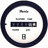Faria Euro White 2'' Hourmeter (10,000 Hrs) (12-32 VDC)