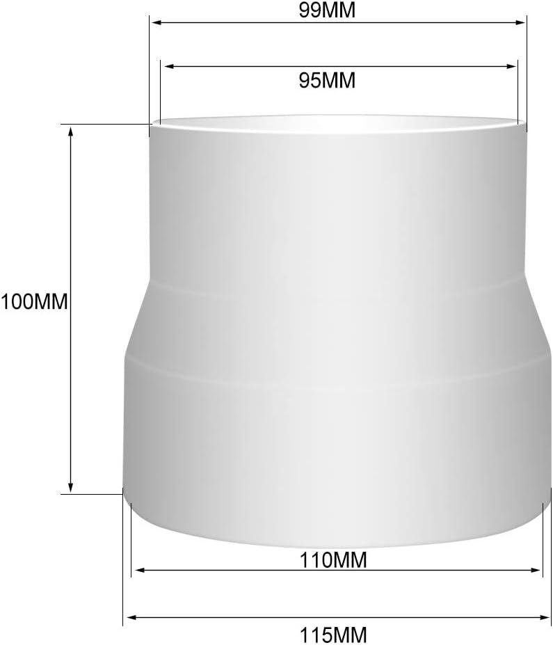 125mm bis 100mm Rohr Reduzierst/ück Adapter f/ür L/üftungsrohr Rohrventilator