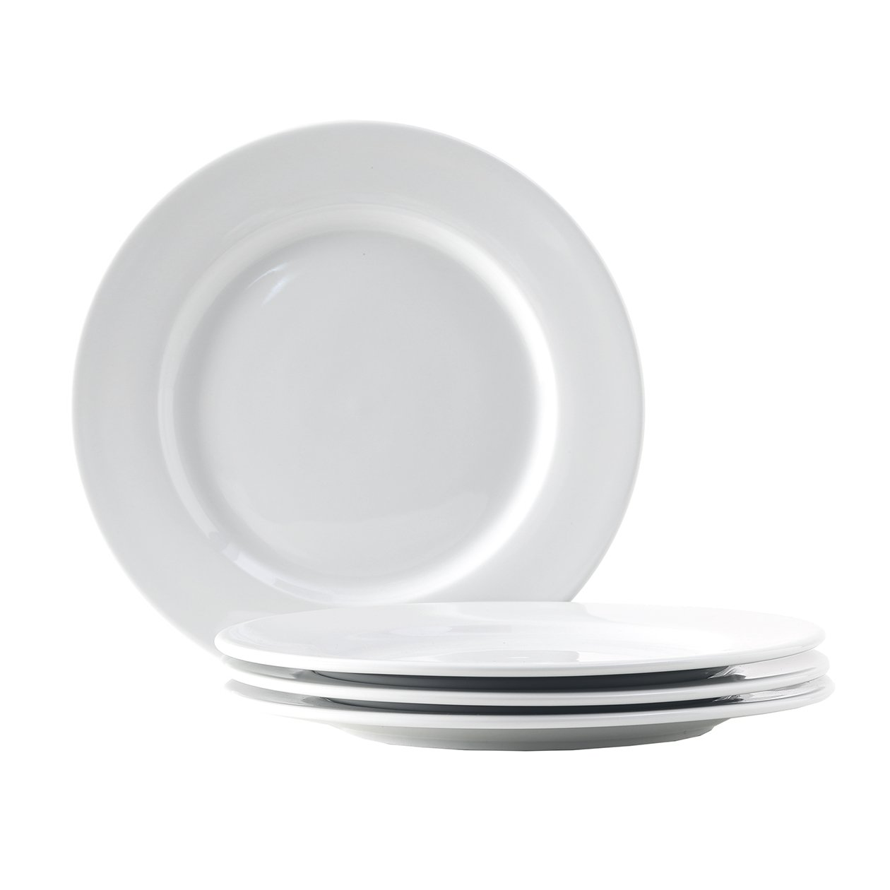 Tuxton Home Alaska Porcelain White 10-1/2'' Wide Rim Dinner Plate - Set of 4; Heavy Duty; Chip Resistant; Lead and Cadmium Free; Freezer to Oven Safe up to 500F