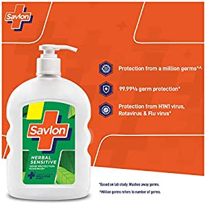 Savlon Herbal Sensitive pH balanced Liquid Handwash, 500ml