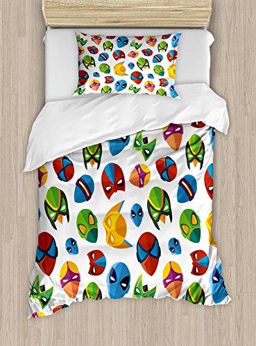 (Ambesonne Superhero Duvet Cover Set Twin Size, Legendary Cartoon Character Masks Flash Batman Spider-Man Comic Costume Print, Decorative 2 Piece Bedding Set with 1 Pillow Sham, Multicolor)