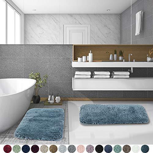 Walensee Shaggy 2 Piece Bath Rug Set, (20 x 32, 2 Pack Set, Slate) Bathroom Rug Set Bath Mats for Bathroom Machine Wash/Dry Absorbent Bathroom Mats Set Non Slip Plush Rug Set for Shower
