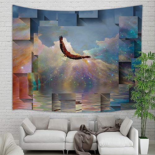 Fantasy Animals Bird Eagle Tapestry Wall Hanging, Eagle in Universe Galaxy with Starry Sky Tapestry, Wall Blanket Art Decor for Home Backdrop Study Dorm Decor Living Room Bedroom Bedspread, 60