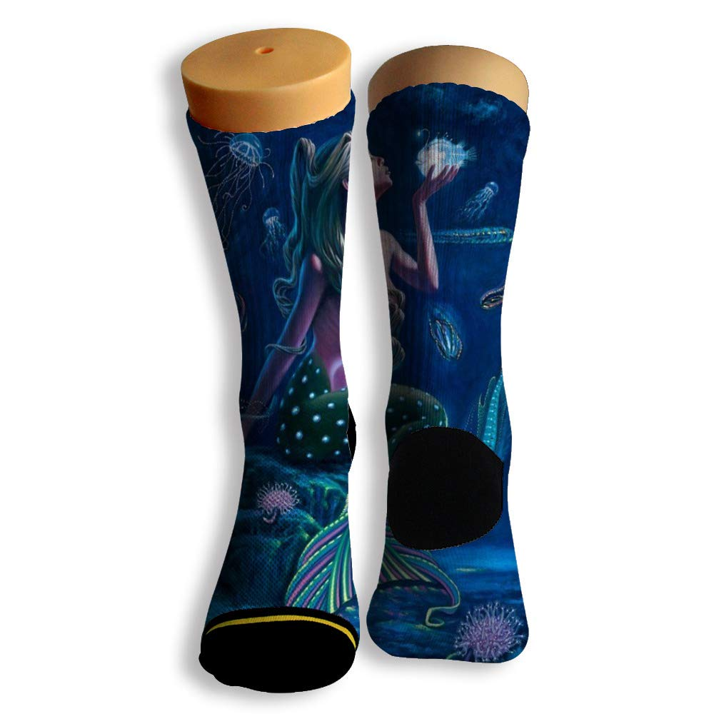 Basketball Soccer Baseball Socks by Potooy Beautiful Mermaid Doodle 3D Print Cushion Athletic Crew Socks for Men Women