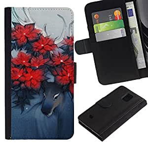 Samsung Galaxy S5 Mini / SM-G800 (Not For S5!!!) , la tarjeta de Crédito Slots PU Funda de cuero Monedero caso cubierta de piel ( Deer Art Horns Forest Nature Flowers Red)