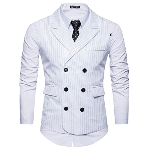 Classic Tall Wool - Cottory Men's Classic Stripes Slim Fit Double-Breasted Tailored Collar Suit Vest White XX-Large