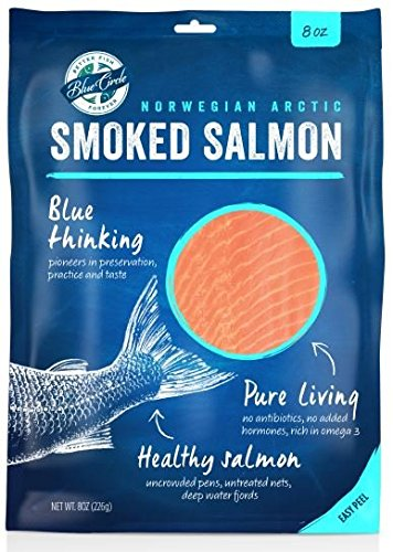 Blue Circle Foods, Sustainably-Raised Norwegian Smoked Salmon 8 oz (4 PK) - Thinly Sliced, Award-Winning Flavor