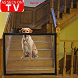 Pet Safety Gate Magic Gate for Dog Safety Enclosure Portable Mesh Folding Safe Guard, Pet Isolation Net, Baby Safety Fence, Retractable Gate for Pets Dog Cat Install Anywhere As Seen On TV