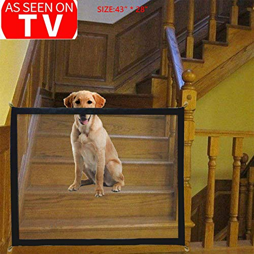 Pet Safety Gate Magic Gate for Dog Safety Enclosure Portable Mesh Folding Safe Guard, Pet Isolation Net, Baby Safety Fence, Retractable Gate for Pets Dog Cat Install Anywhere As Seen On TV (Best Dog To Keep As Pet)