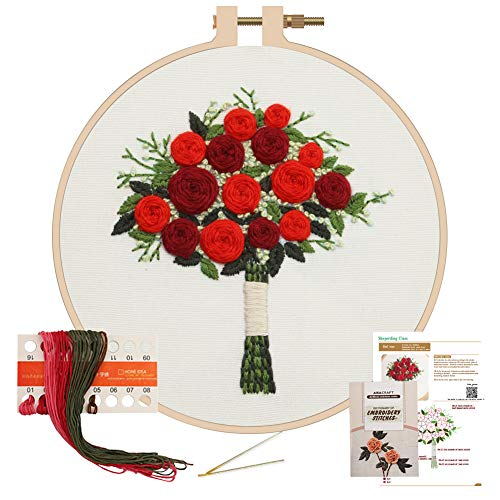 Akacraft Unfinished Embroidery Starter Kit, Cotton Fibric with Water Soluble Pattern, 6 inch Plastic Embroidery Hoop, Color Threads, and Needles, Handy Bouquet Series-Red Roses
