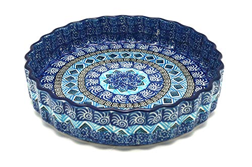 Polish Pottery Baker - Fluted Quiche - Small (7'') - Aztec Sky by Polish Pottery Gallery