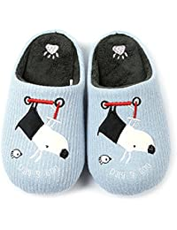 Familly House Slippers Cute Dog Indoor Slippers Embroidered Memory Foam Comfortable Home Slippers Bedroom Slippers For Adult and Kids