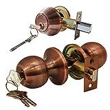 Constructor CHRONOS Combo Entry Knob Handle and Double Cylinder Deadbolt Keyed-Alike Door Lock Set Antique Copper Finish