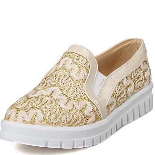 AgooLar Damen Rund Schließen Zehe Niedriger Absatz Rein Ziehen auf Pumps Schuhe Golden