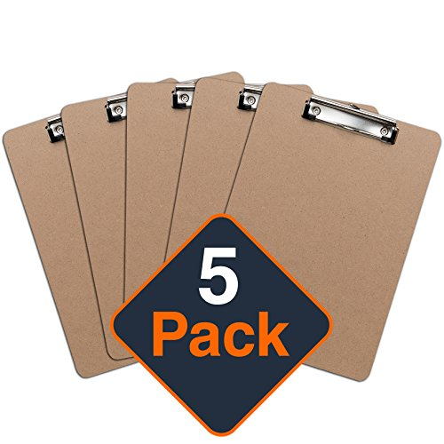 - Clipboards (Set of 5) by Office Solutions Direct! ECO Friendly Hardboard Clipboard, Low Profile Clip Standard A4 Letter Size