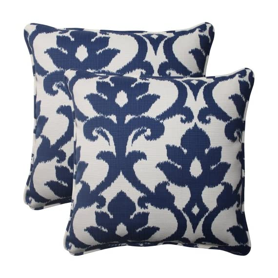 Pillow Perfect Outdoor Bosco Corded Throw Pillow, 18.5-Inch, Navy, Set of 2 - Includes two (2) outdoor pillows, resists weather and fading in sunlight; Suitable for indoor and outdoor use Plush Fill - 100-percent polyester fiber filling Edges of outdoor pillows are trimmed with matching fabric and cord to sit perfectly on your outdoor patio furniture - living-room-soft-furnishings, living-room, decorative-pillows - 51r3hvB07bL. SS570  -
