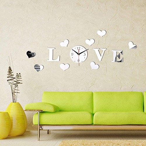 Forepin® Modernes Design 3D DIY PS-Plastik Material Aufkleber Große Uhr für Zimmerdeko Wohnkultur Wohnzimmer-Dekoration Muster 1 - Liebesworte