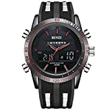 BINZI Military Waterproof Sport Watch, Casual Quartz Multifunction in Black Silicone Band