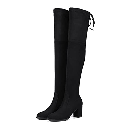beacbfec0b1 MIUINCY Hot Thigh High Boots Women Over The Knee Boots Fashion Winter Boots  Women Stretch Fabric Sexy Square High Heel Boots  Amazon.ca  Shoes    Handbags
