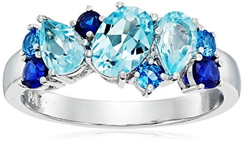 Rhodium Plated Sterling Silver Created Blue Sapphire, Lab-Created Aquamarine and Sky Blue Topaz Ring, Size 9