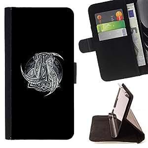 BullDog Case - FOR/Sony Xperia m55w Z3 Compact Mini / - / black white Viking art pattern gods /- Monedero de cuero de la PU Llevar cubierta de la caja con el ID Credit Card Slots Flip funda de cuer