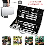 Image of Portable BBQ Tools Set Kits 19 Piece Include Storage Box, Grilling Accessories Brush Parts Stainless Steel Barbecue Utensils Aluminum Gift Case, Outdoor Backyard Beach Camping Grilling Accessories