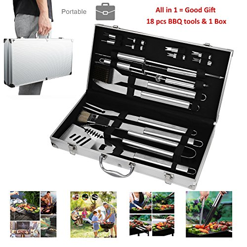 Portable BBQ Tools Set Kits 19 Piece Include Storage Box, Grilling Accessories Brush Parts Stainless Steel Barbecue Utensils Aluminum Gift Case, Outdoor Backyard Beach Camping Grilling Accessories