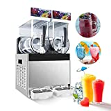 IRONWALLS 15L x 2 Tank 110V 700W Slush Slushy Machine Dispenser Frozen Drink Machine Margarita Maker for Restaurant Supermarket Cafes Commercial Use