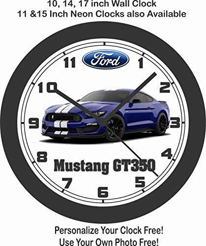Jim's Classic Clocks 2018-2019 Ford Mustang GT350 Shelby Wall Clock-Free USA Ship, Camaro, Corvette, Hellcat