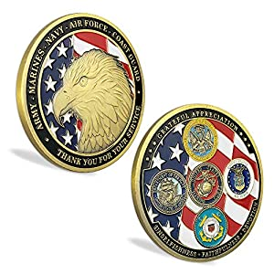 US Proud Military Family Challenge Coin Veteran Military Army Navy Marine Corps Armed Forces Collection Item from Amazinga