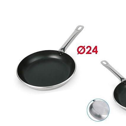 Supreminox Sarten Profesional 4mm de Aluminio indeformable, Mango de Acero y Libre de PTFE y