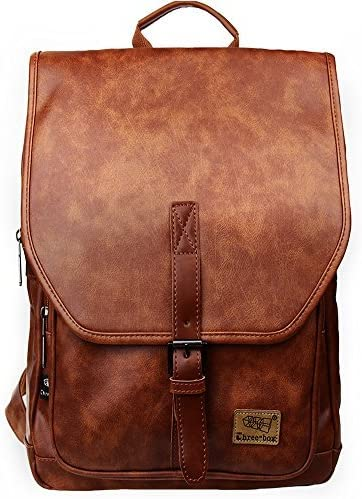 Zebella Leather Backpack PU 14 Inch Laptop Bookbags Purse Fashion Causal Work Daypack College School Bag