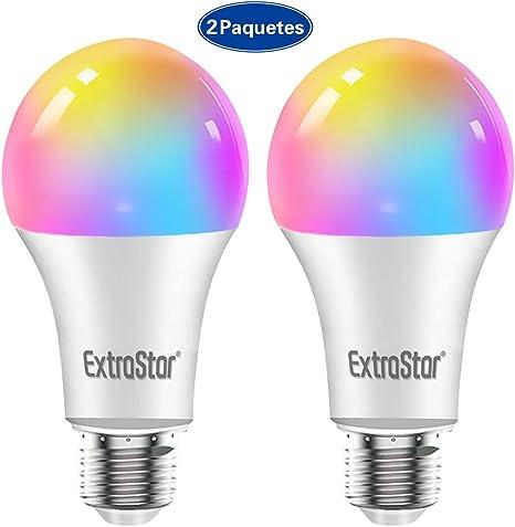 Bombilla LED Inteligente WiFi,Extrastar 2 Pack 10W E27 Bombilla ...