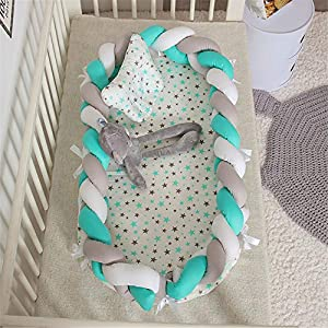 Abreeze Baby Lounger for Newborn -White-Grey-Teal Baby Lounger – Braided Knot Crib Co-Sleeping Baby Bed – 100% Cotton Portable Crib for Bedroom/Travel/Camping 0-24 Month
